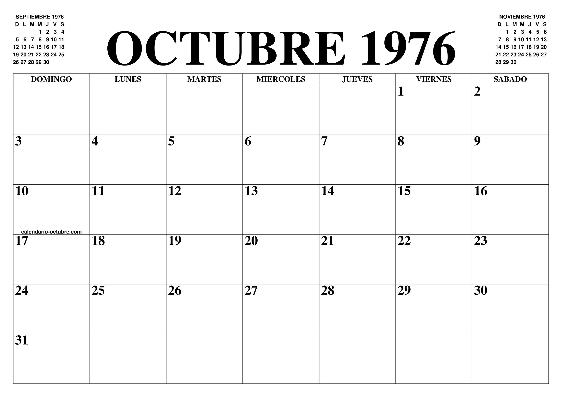 Calendario 1976.Calendario Octubre 1976 El Calendario Octubre Para