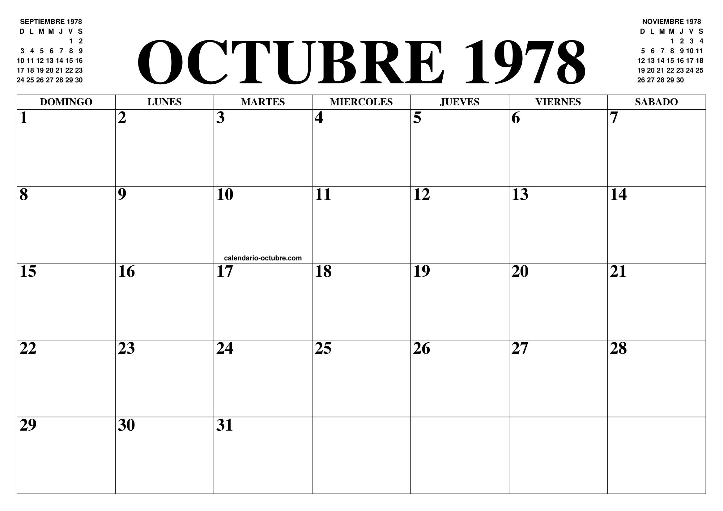 1978 Calendario.Calendario Octubre 1978 El Calendario Octubre Para