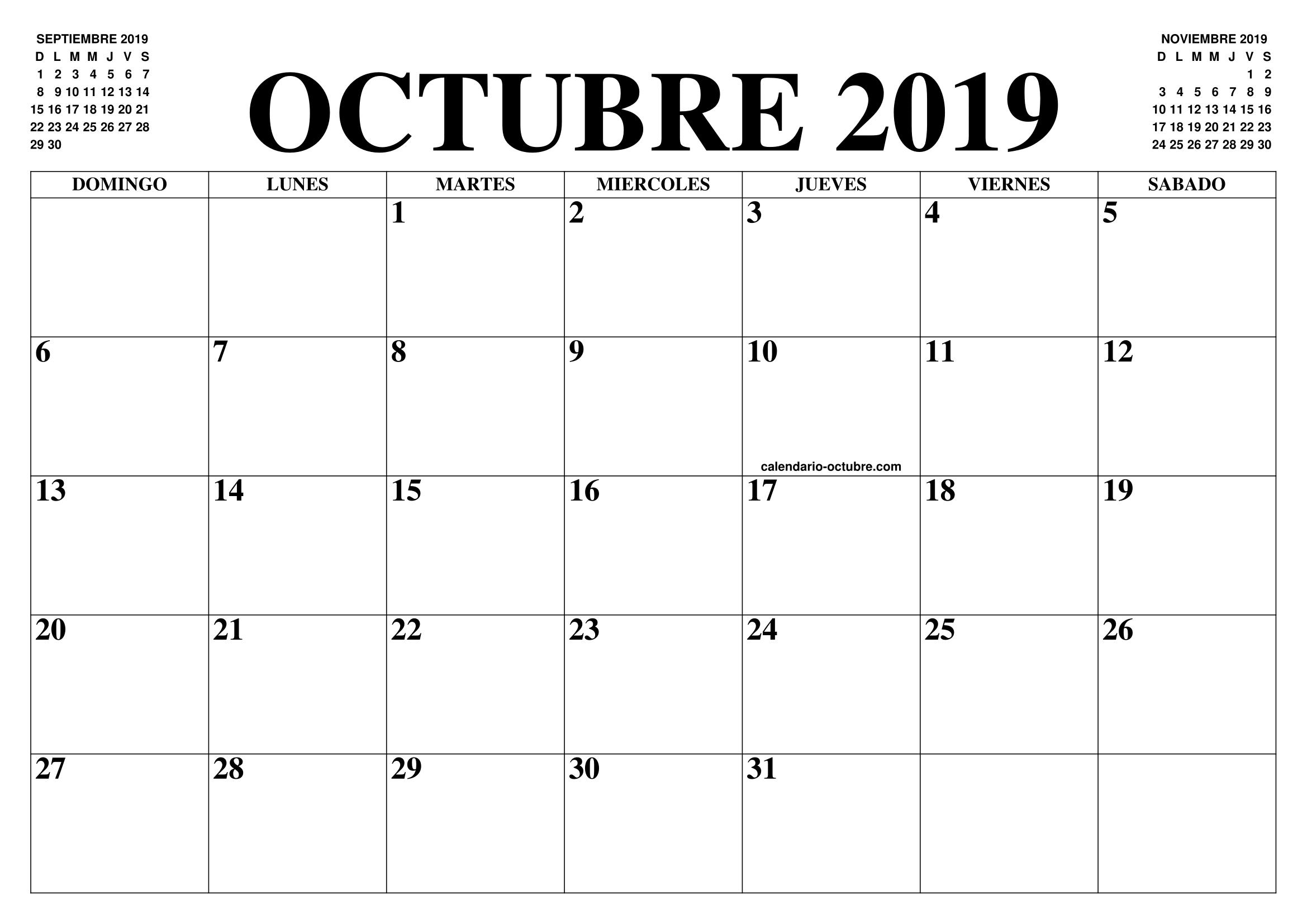 Calendario Mes De Octubre 2020 Para Imprimir.Calendario Octubre 2019 2020 El Calendario Octubre 2019