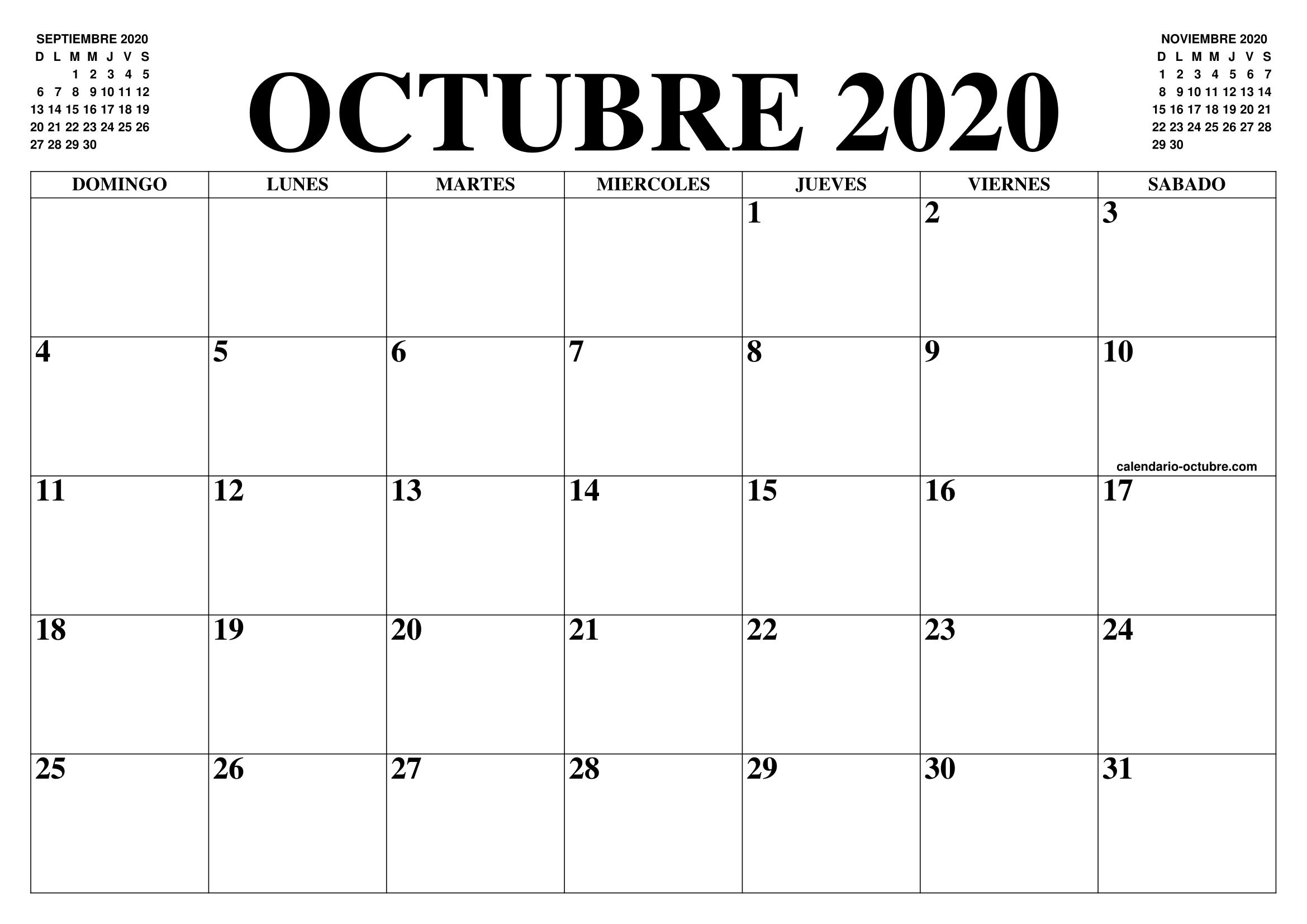 Calendario Agenda 2020 Para Imprimir.Calendario Octubre 2020 El Calendario Octubre Para
