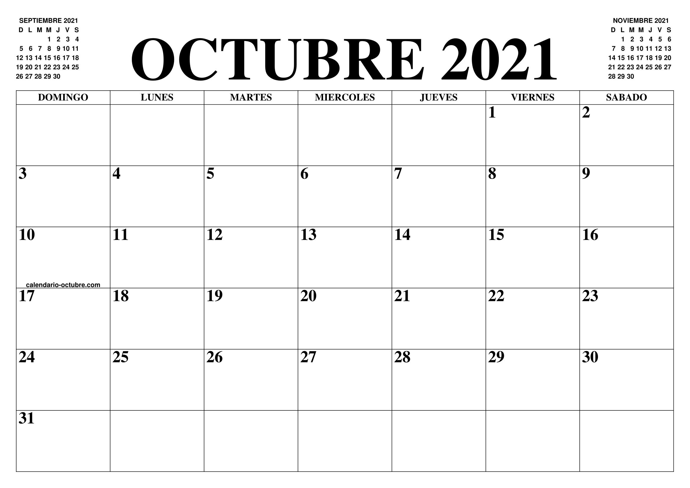 Calendario De Octubre 2021 CALENDARIO OCTUBRE 2021 : EL CALENDARIO OCTUBRE 2021 PARA IMPRIMIR